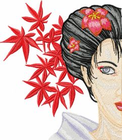 Geisha with Flower 1 machine embroidery design