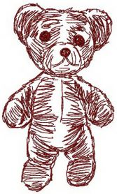 Old bear toy 7 machine embroidery design