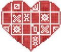Red heart cross stitch embroidery design