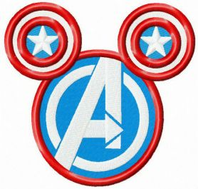 Avengers logo on mouse silhouette machine embroidery design