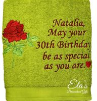 Personalised gift towel with rose free embroidery design