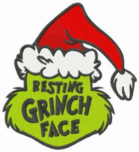 Resting Grinch face Santa hat