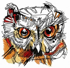 Wild owl head machine embroidery design