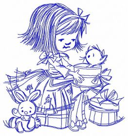 Girl's presents 3 machine embroidery design