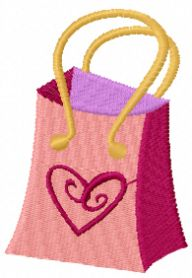 Barbie shopping bag machine embroidery design