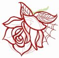 Rose and web embroidery design