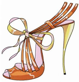 Summer high heels machine embroidery design
