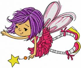 Little cute fairy with magic wand embroidery design