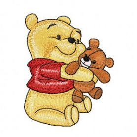 Baby Pooh with toy machine embroidery design