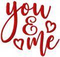 You and me free embroidery design