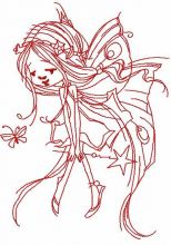 Redwork fairy with magic wand