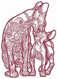 Cat and kitty cat sphynx 3 machine embroidery design