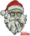 Santa with tobacco pipe embroidery design
