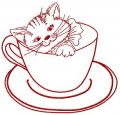 Cat in cup 2 embroidery design