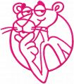 Pink Panther one colored embroidery design