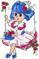 Malvina swing in garden embroidery design