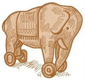 Wooden elephant machine embroidery design