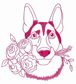 German Shepherd with roses 2 machine embroidery design