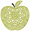 Decorative green apple embroidery design