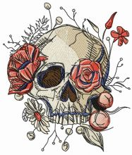 Skull overgrown with flowers 2