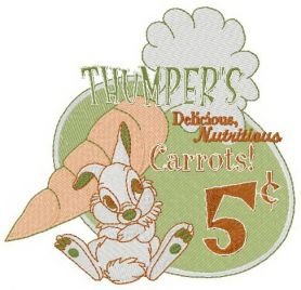 Thumper's carrots machine embroidery design