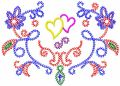 Two flowers modern variant embroidery design