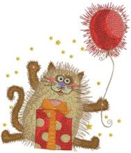 Cat with gifts and balloon
