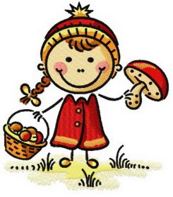 Girl with mushrooms machine embroidery design
