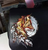Leather backpack with fox dreamcatcher embroidery design
