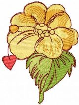 Yellow flower and red heart free embroidery design