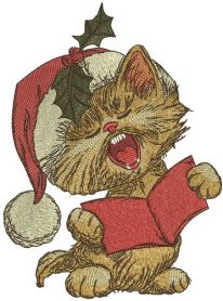 Cat sings Christmas carols machine embroidery design