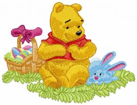 Winnie Pooh and Easter Bunny machine embroidery design