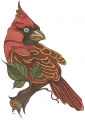 Northern cardinal sitting on tree branch embroidery design