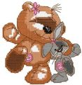 Teddy dance with bunny embroidery design