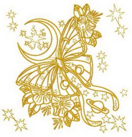 Yellow space butterfly machine embroidery design