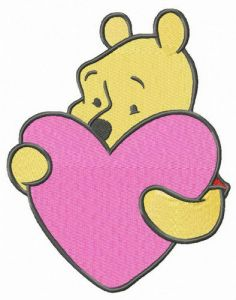 Winnie the Pooh with pink heart
