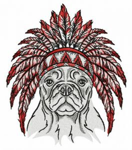Bulldog with warbonnet