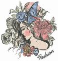 Fashionable sleeping girl embroidery design