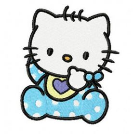 Hello Kitty Baby Bib machine embroidery design