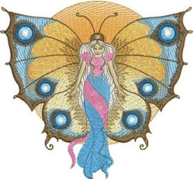 Angel butterfly machine embroidery design