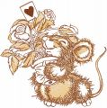 Happy romantic mouse embroidery design