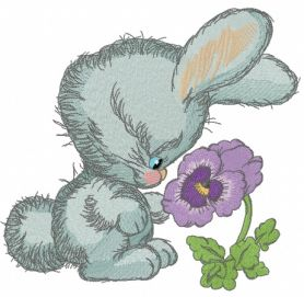 Bunny smells heartsease machine embroidery design