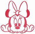 Minnie crawls embroidery design