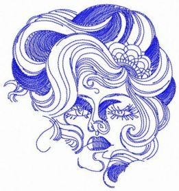 Haughty woman face machine embroidery design