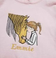 Horse and loving girl embroidery design