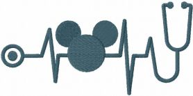 Mickey Mouse stetoscope embroidery design