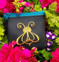 Small purse with golden bee free embroidery design