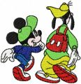 Mickey Mouse and Goofy embroidery design
