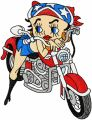 Betty Boop biker embroidery design