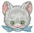 Blue ribbon for kitten embroidery design